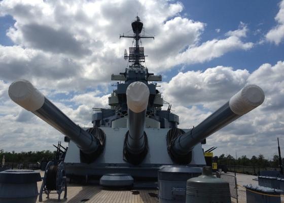 big guns on the USS North Carolina