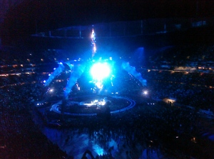 Our view of the U2 stage. Seats were pretty good, for being the almost-cheapest.