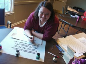 "That's me working to letter the big ""Ten Little Indians"" poem that ties the play together."