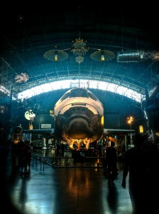 Space Shuttle Discovery in her hangar.