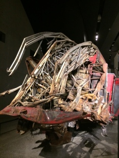 The backside of Ladder 3 Company's truck. The firemen who drove it to the WTC died when the towers fell. 9/11 Memorial & Museum