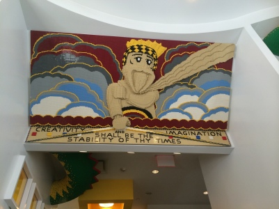 the Lego store at Rockefeller Center echoes some of the nearby sculptures