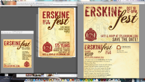 I think screen shots of work in progress are pretty interesting. Also, I always end up extending a print design into other media like Instagram or Facebook photos, profile shots, Twitter graphics, or sometimes additional print forms (like postcards or invites).