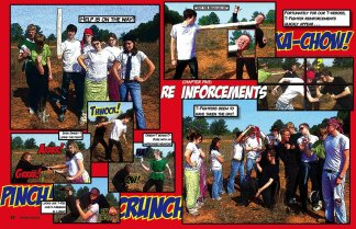 """Some relatively early page layout work for me - I used to do the bulk of the yearbook design for NCS. For this comic book adventure theme, I shot photos of students acting out the storyboard scenes, then ran them through a mix of Photoshop filters to get a """"drawn"""" effect. Labor intensive, but probably my favorite yearbook."""