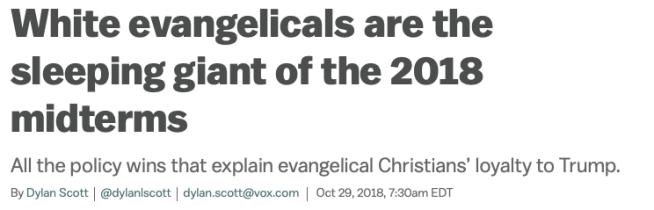 Vox headline Evangelicals