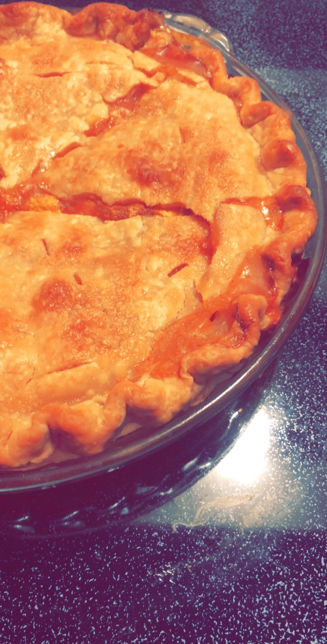 peach pie hot from oven